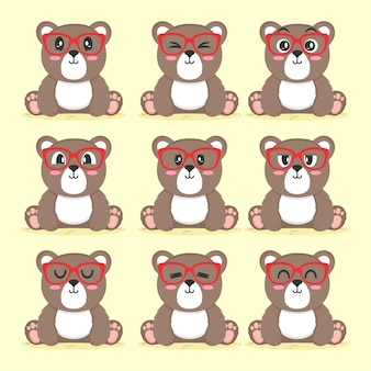Set van schattige beer met glazen platte ontwerp illustratie
