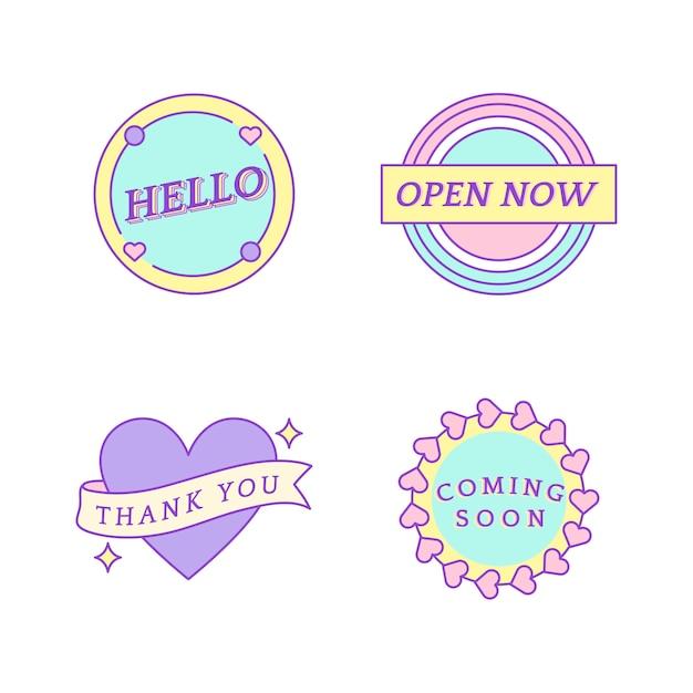 Set van schattige berichten op badges vector