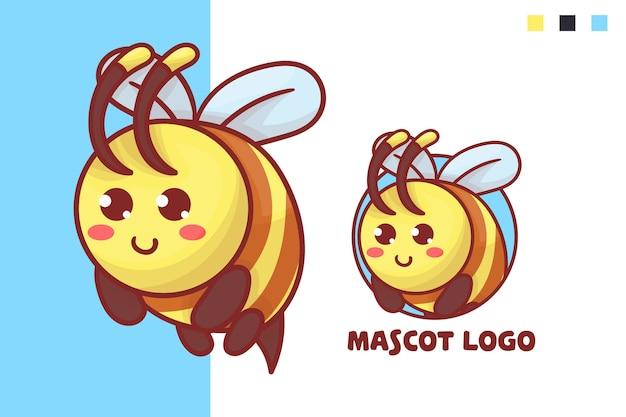 Set van schattige bijen mascotte logo met optioneel uiterlijk.