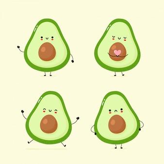 Set van schattige blij en verdrietig avocado