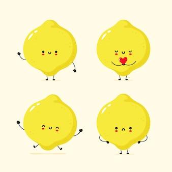Set van schattige blij en verdrietig citroen