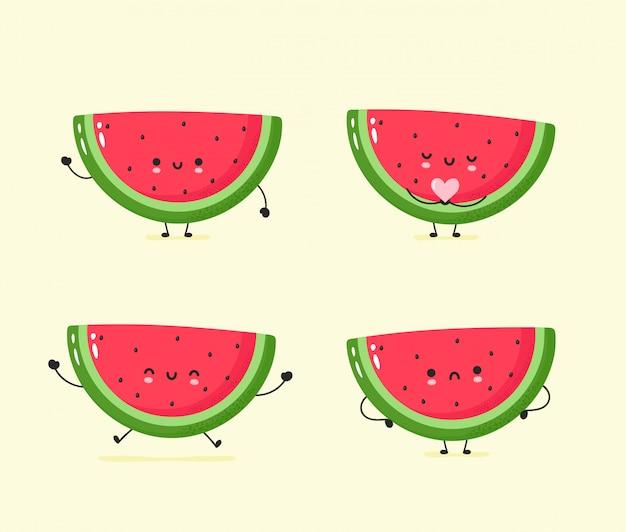 Set van schattige blij en verdrietig watermeloen