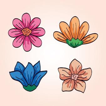 Set van schattige bloemen naturals