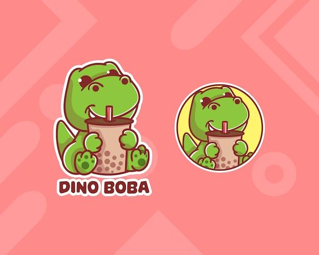 Set van schattige boba dinosaurus-logo met optioneel uiterlijk. kawaii