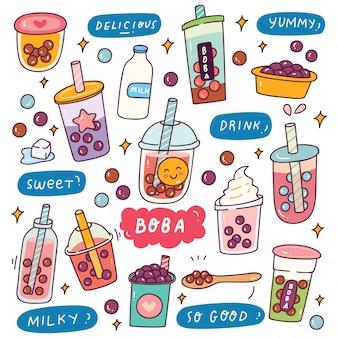 Set van schattige boba drankje illustratie