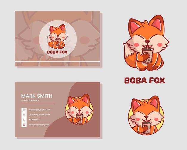 Set van schattige boba fox mascotte logo met kaartnaam. premium kawaii vector