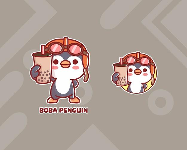 Set van schattige boba pinguïn logo met optioneel uiterlijk. kawaii
