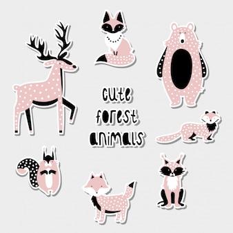 Set van schattige bosdieren