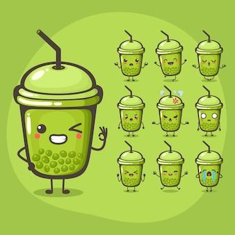 Set van schattige bubble melk thee karakter gebruik ter illustratie of mascotte