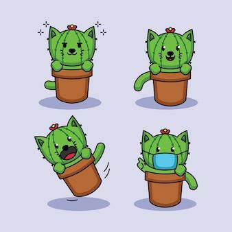 Set van schattige cactus kat mascotte ontwerp