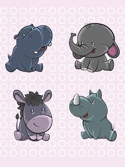 Set van schattige cartoon baby dieren in de hand getrokken