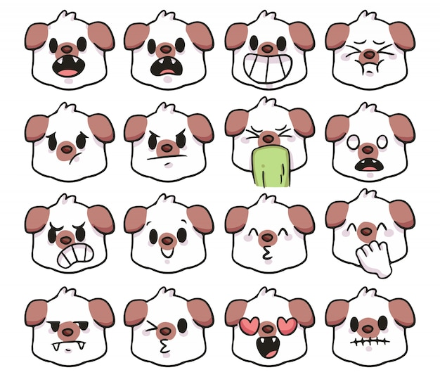 Set van schattige cartoon hond emoji