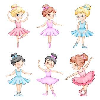Set van schattige cartoon kleine ballerina's aquarel illustraties