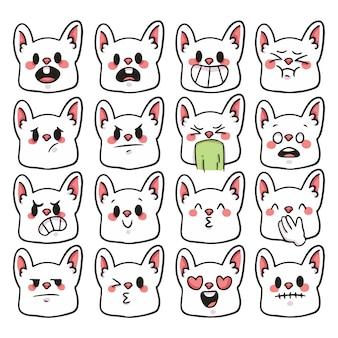 Set van schattige cartoon konijn emoji