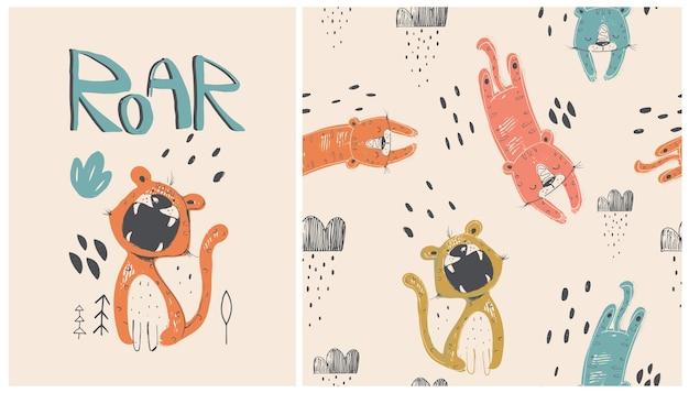 Set van schattige cartoon tijger met naadloze patroon hand getekende illustratie