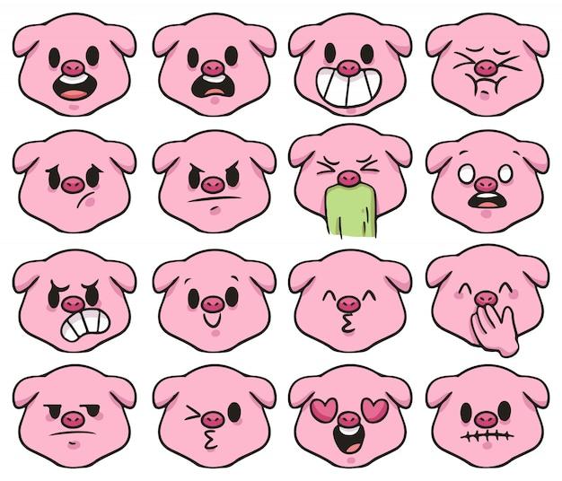 Set van schattige cartoon varken emoji