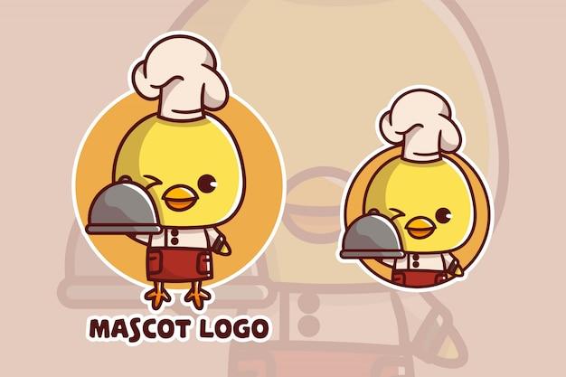 Set van schattige chef-kok kip mascotte logo