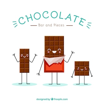 Set van schattige chocolade cartoons