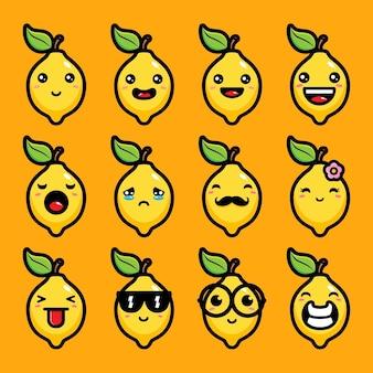 Set van schattige citroen