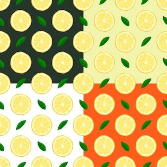 Set van schattige citroenen naadloze patronen. vector eps8 illustratie.