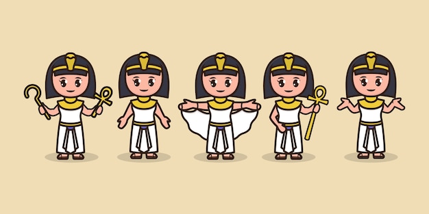 Set van schattige cleopatra egypte mascotte ontwerp illustratie