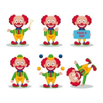 Set van schattige clown mascotte voor de dwaze dag van april