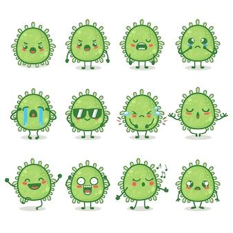 Set van schattige corona virus karakter in verschillende actie-emotie