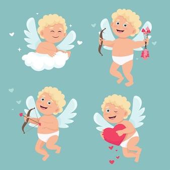 Set van schattige cupido-engelen in verschillende poses.
