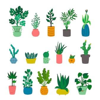 Set van schattige decoratieve kamerplanten geïsoleerd op een witte achtergrond. stedelijke jungle. thuis tuinieren. collectie trendy kamerplanten die groeien in potten of plantenbakken. illustratie.