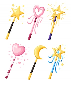 Set van schattige decoratieve toverstokjes in verschillende vormen. magisch meisje cartoon machtsconcept. illustratie op witte achtergrond. website-pagina en mobiele app