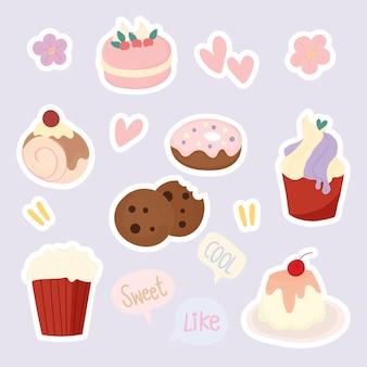 Set van schattige dessertstickers