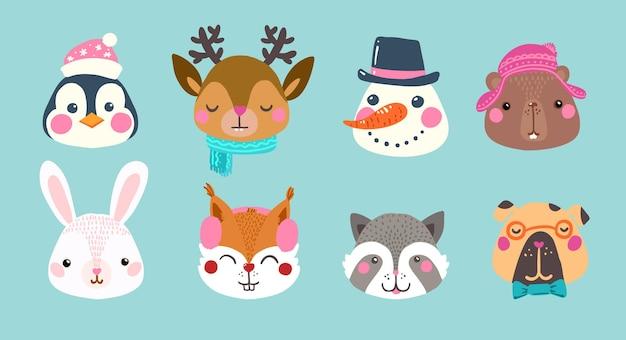 Set van schattige dieren avatars in cartoon-stijl