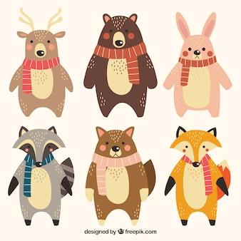 Set van schattige dieren met sjaal
