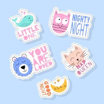 Set van schattige dieren stickers, spelden, patches en handgeschreven collectie in cartoon stijl