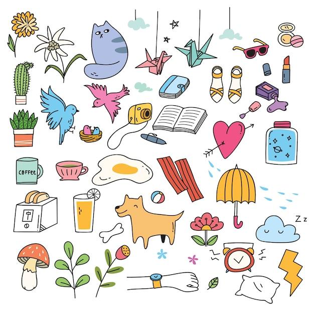 Set van schattige dingen in doodle stijl