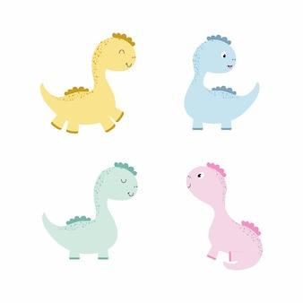 Set van schattige dinosaurussen. dinosaurussen voor kinderen. cartoon vectorillustratie in aquarel kleur. tekenen voor het bedrukken van kleding, verjaardagsdecoratie, ansichtkaarten, boeken over dinosaurussen en draken.