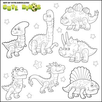 Set van schattige dinosaurussen
