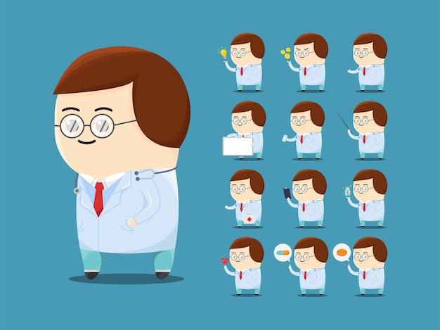 Set van schattige dokter die een bril draagt met veel poses