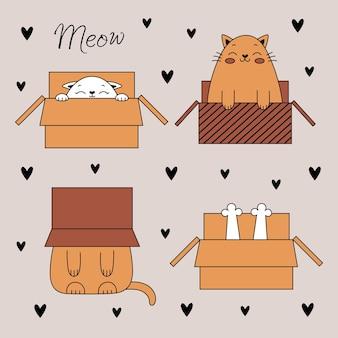 Set van schattige doodle katten. grappige katten in een doos. vectorillustratie met huisdieren