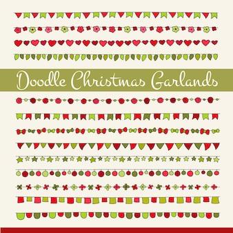 Set van schattige doodle kerstvlaggen voor uw ontwerpen (verjaardagsfeestje, nieuwjaarsviering).