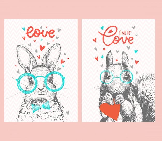 Set van schattige eekhoorn met hartjes, belettering van liefde, bril en strikje