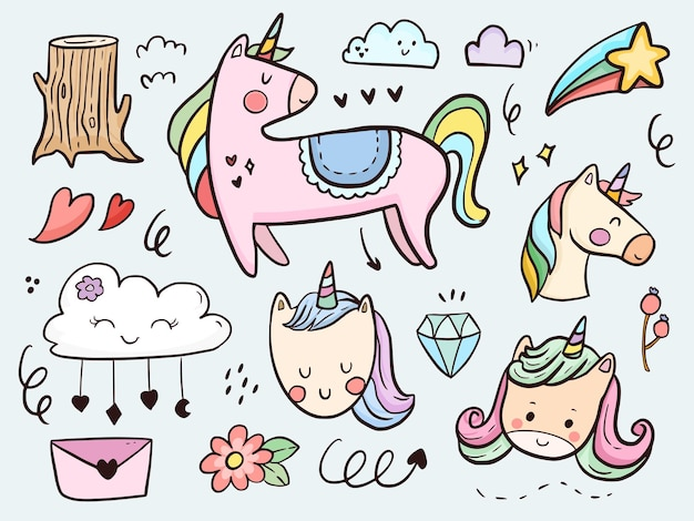 Set van schattige eenhoorn doodle cartoon voor kinderen kleuren en afdrukken