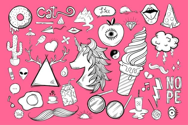 Set van schattige en coole pictogrammen