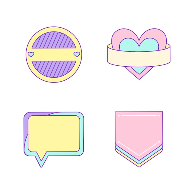 Set van schattige en girly badge vectoren