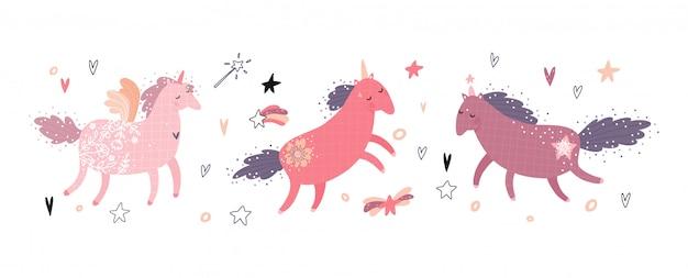 Set van schattige fee eenhoorns. magische elementen kinderen collectie geïsoleerd