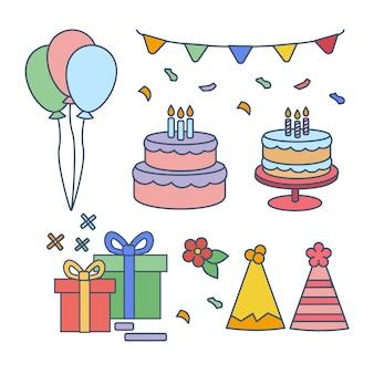Set van schattige gelukkige verjaardag sieraad en taart