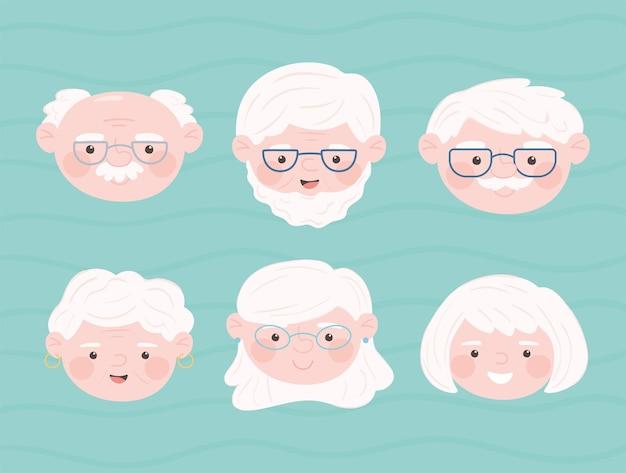 Set van schattige gezichten oude mensen