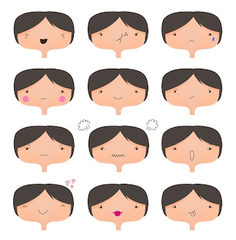 Set van schattige gezichten, verschillende stemmingen collectie