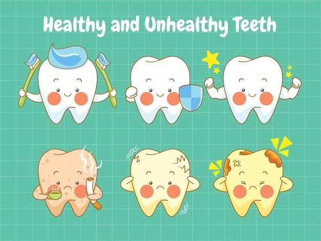 Set van schattige gezonde en ongezonde tanden stripfiguur