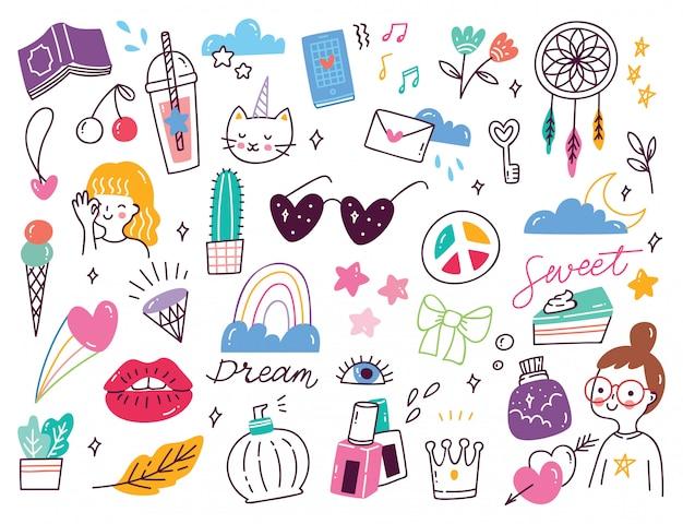Set van schattige girly doodles